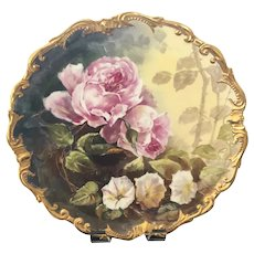 """16"""" Hand-Painted Limoges Plaque with Roses Signed """"Dubois"""""""