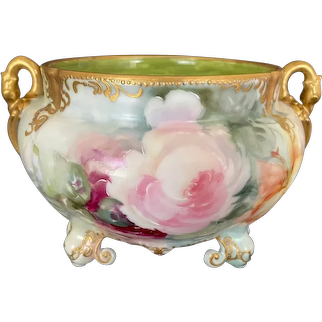 Limoges Hand-Painted Ferner Jardiniere with Dark Pink & Yellow Roses