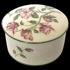Limoges Covered Powder Bowl With Pink Wild Roses by Rochard