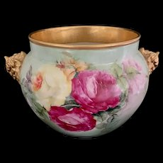 Large Limoges Jardiniere with Roses and Elephant Handles