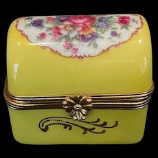 Yellow Limoges Box with Flowers & Signed