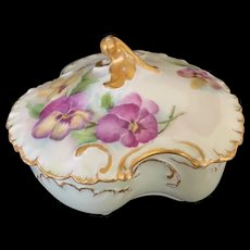Haviland Limoges Hand-Painted Trinket Box with Pansies Signed by Artist