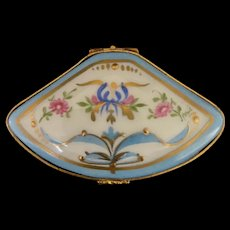 Fan Shaped Limoges Box decorated with a Ribbon, Pink Flowers, and Gold