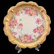 Stunning Limoges Plate with Lots of Gold and Gorgeous Flowers