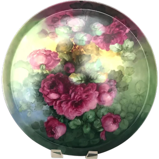 """Large Antique 18"""" Hand Painted Limoges Charger with Red Roses"""