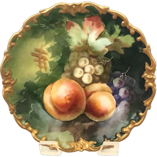 Antique Hand-Painted Gold Scalloped Limoges Plaque with Peaches