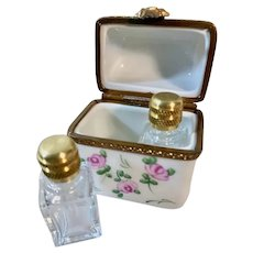 Hand-Painted Limoges Perfume Trinket Box with Roses and Original Bottles