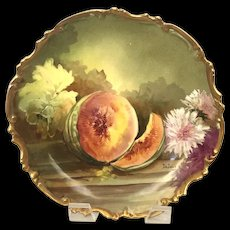 Artist Signed Antique Hand-Painted Gold Scalloped Limoges Plaque with Melons