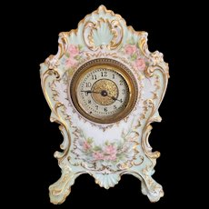 Fabulous Vintage Limoges France Hand-Painted Footed Clock with Pink Roses, made by the Ansonia Clock Company