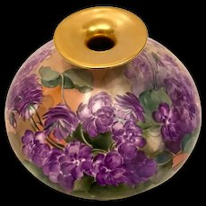 Hand-Painted Limoges France Squat Vase with Violet Flowers and Greenery