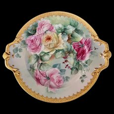 Large Limoges Handled Plate with Roses and Gold