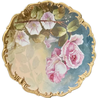 """Large 16"""" Limoges Charger with Hand-Painted Roses"""