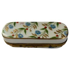 Limoges Hand-Painted Oblong Trinket Box