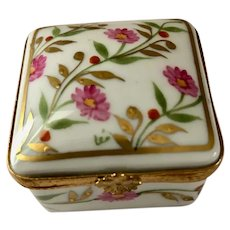 Limoges Hand-Painted Square Trinket Box