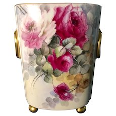 Large William Guerin Hand-Painted Limoges Cachepot with Pink & Red Roses Artist Signed