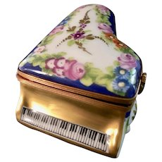 Hand-Painted Piano Limoges Trinket Box