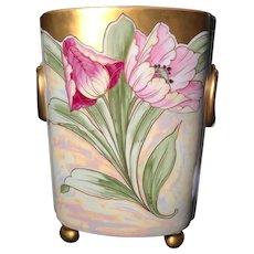 Art Nouveau Iridescent Limoges Cachepot Vase