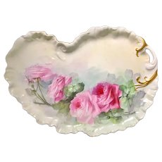 Hand-Painted Limoges Tray with Dark/Light Pink Roses
