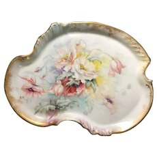 Hand-Painted Limoges Tray with Flowers