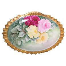 Antique Hand-Painted Limoges Rose Plaque Artist Signed
