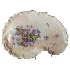 Hand-Painted Limoges Dresser Tray with Violets