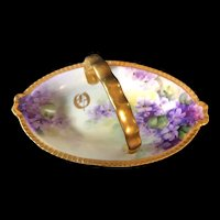 Hand-Painted Limoges Gold Handled Basket with Violets