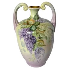 "13"" Limoges France Violet Muscle Vase"