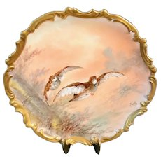 Hand-Painted Limoges Charger with Two Game Birds