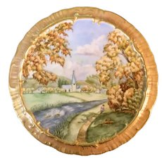 Porcelain Hand-Painted French Scenic Plaque