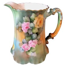 Limoges Hand-Painted Handled Milk/Water Pitcher