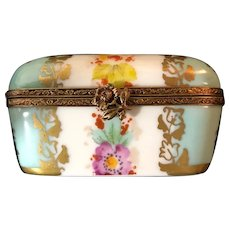 Hand-Painted Limoges Turquoise and White Floral Trinket Box