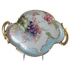 "17"" Double Handled Hand-Painted Limoges Tray with Grapes"