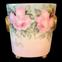 Hand-Painted Limoges France Cachepot/Vase decorated with Pink Roses Signed by Artist Henderson