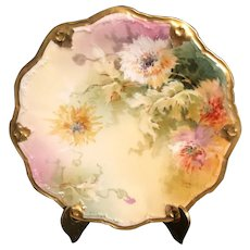 Antique Hand-Painted Limoges France Plate decorated with Flowers Signed by Artist