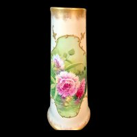Antique Limoges France Hand Painted Vase with Pink Flowers Artist Signed
