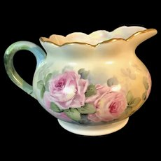Hand Painted Limoges France Pitcher with Pink Roses produced by William Guerin