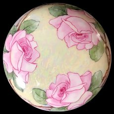 T&V Limoges France Hand-Painted Powder Bowl Trinket Box Artist Signed