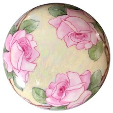 T&V Limoges France Hand-Painted Powder Bowl Trinket Box Artist Signed
