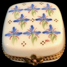 Vintage Limoges White Porcelain Box with Floral Design Artist Signed