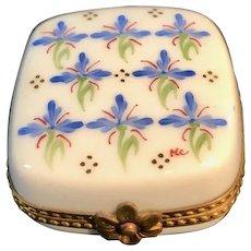Vintage Limoges White Porcelain Box with Floral Design Artist Signed