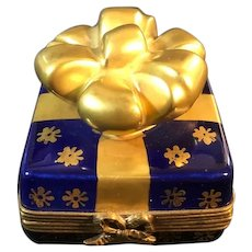 Cobalt Blue Limoges Box with Gold Ribbon and Bow, Artist Signed