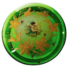 Moser Green Powder Bowl with Gold Enameling and Cherub