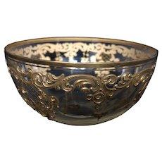 8 Antique Moser Crystal Gold Enameled Bowls
