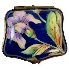 Limoges hand-painted cobalt blue trinket box
