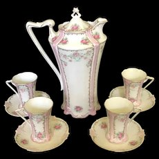 Antique RS Prussia Porcelain Chocolate Pot Set