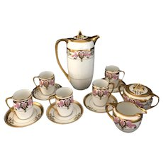 RS Prussia Tillowitz Silesia Floral Art Deco Design Chocolate Pot Set