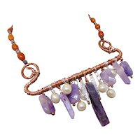 Amethyst and Amber on Copper Choker