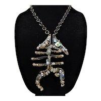 Bejeweled Brutilist Fish Pendant Necklace
