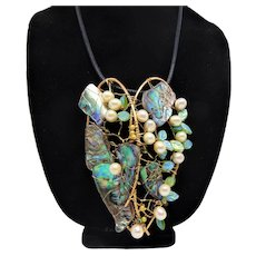 Big Pendant of Cultured Freshwater Pearls and Paua Shell on Leather Necklace
