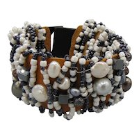 Black N White Beaded Bracelet on Leather with Horn Clasp